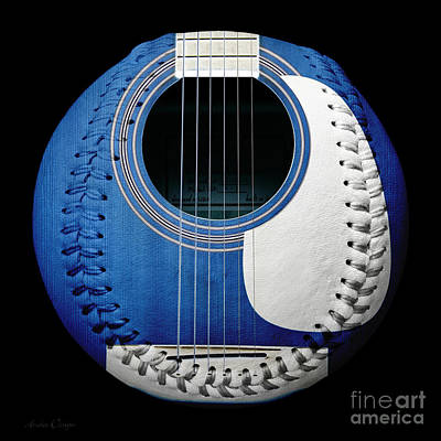 Andee Design White Photograph - Blue Guitar Baseball White Laces Square by Andee Design