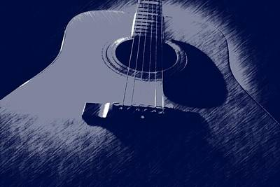 Blue Guitar Art Print by Photographic Arts And Design Studio
