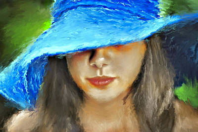 Blue Hat Portrait Art Print
