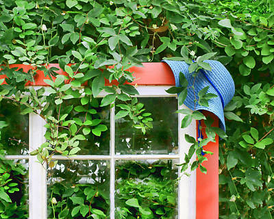 Photograph - Blue Hat Red Window by Nikolyn McDonald