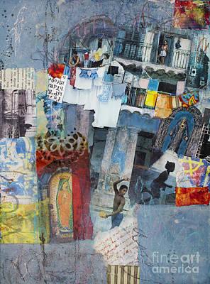Grungy Mixed Media - Blue Havana by Elena Nosyreva