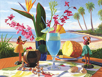 Hawaiian Painting - Blue Hawaiian by Steve Simon