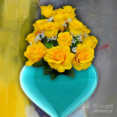 Mixed Media - Blue Heart Vase With Yellow Roses by Marvin Blaine