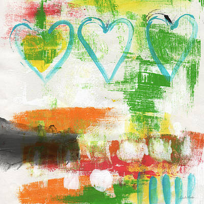 Painting - Blue Hearts- Abstract Painting by Linda Woods