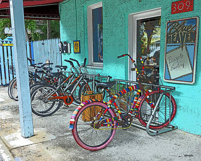 Photograph - Blue Heaven Key West Bicycles by Rebecca Korpita