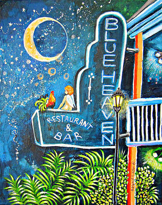 Night Lamp Painting - Blue Heaven Sign With Cherub And Rooster by Abigail White