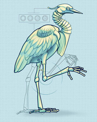 Robot Digital Art - Blue Heron 3000 by Vanessa Bates