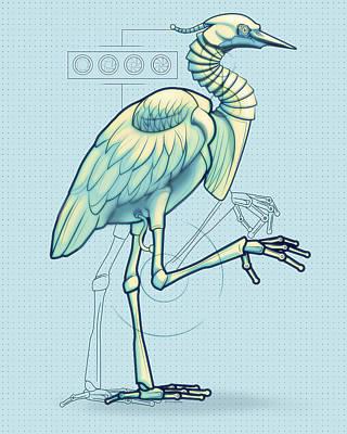 Robot Digital Art - Blue Heron 3000 by Vanessa Bates