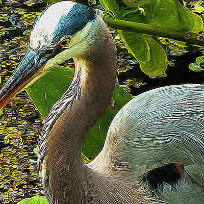 Digital Art - Blue Heron Addict by Jim Pavelle