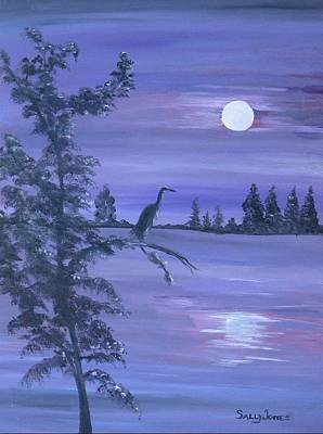 Blue Heron And A Silvery Moon Original