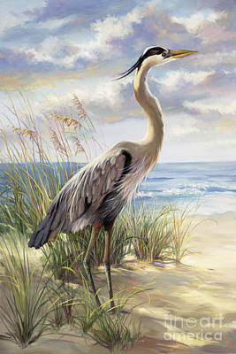 Beach Scene Painting - Blue Heron Deux by Laurie Hein