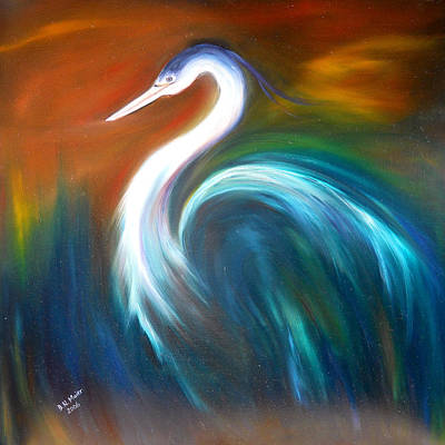 Art Print featuring the painting Blue Heron by Dorothy Maier