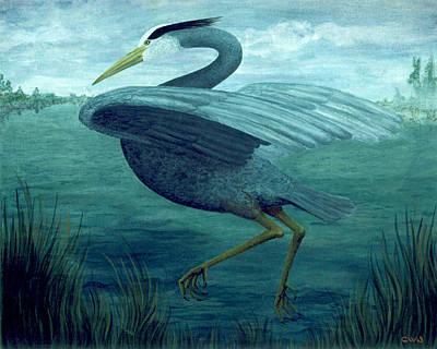 Painting - Blue Heron Flushed by Cynda Warren Joyce