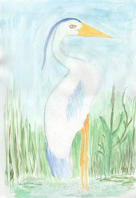 Blue Heron In The Tules Art Print by Helen Holden-Gladsky