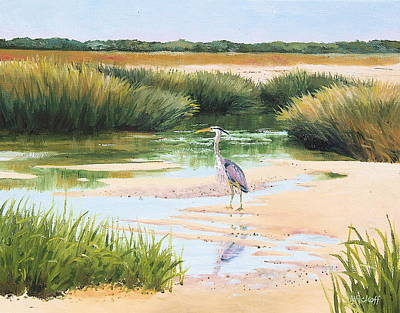Blue Heron Art Print by Karol Wyckoff