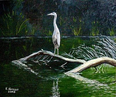 Art Print featuring the mixed media Blue Heron by Kenny Henson