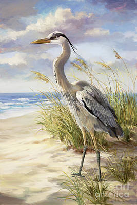 Beach Scene Painting - Blue Heron  by Laurie Hein