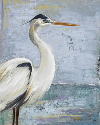 Blue Heron Painting - Blue Heron On Blue I by Patricia Pinto