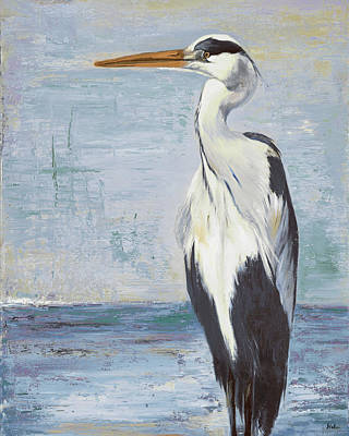 Blue Heron Painting - Blue Heron On Blue II by Patricia Pinto