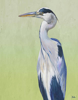 Blue Heron Painting - Blue Heron On Green II by Patricia Pinto