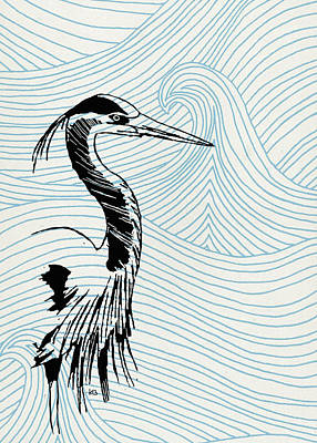 Blue Heron On Waves Art Print