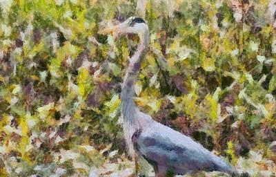 Blue Heron Painting Art Print by Dan Sproul