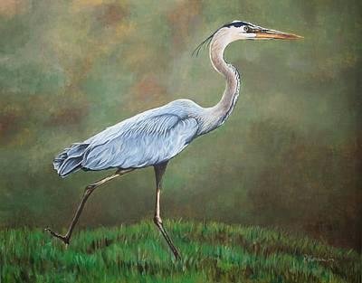 Acylic Painting - Blue Heron by Pam Kaur