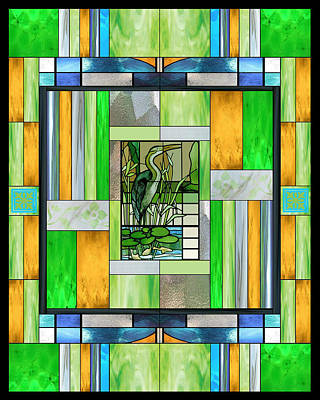 Heron Mixed Media - Blue Heron Stained Glass by Ellen Henneke