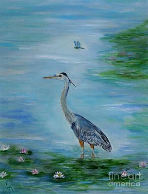 Painting - Blue Herons Friend by Leslie Allen