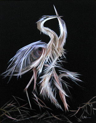 Art Print featuring the painting Blue Herons Mating Dance by LaVonne Hand