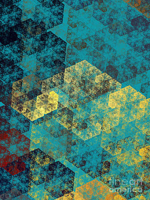 Digital Art - Blue Hexagon Fractal Art 2 Of 3 by Andee Design