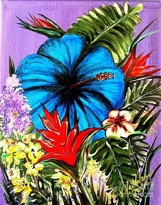 Blue Hibiscus Art Print by Valarie Pacheco