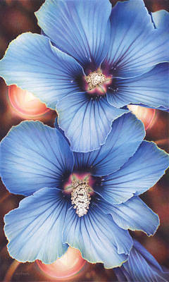 Fantasy Drawings - Blue Hibiscus With Fairy Lights by Amy S Turner