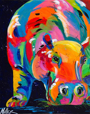 Colorado Wildlife Wall Art - Painting - Blue Hippo by Tracy Miller