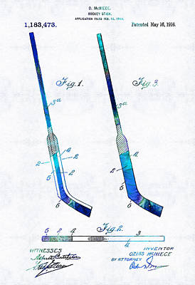 Blue Hockey Stick Art Patent - Sharon Cummings Art Print by Sharon Cummings