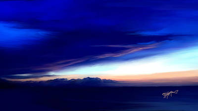 Art Print featuring the digital art Blue Horizon Dawn Over Sea by Anthony Fishburne
