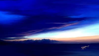 Blue Horizon Dawn Over Sea Art Print