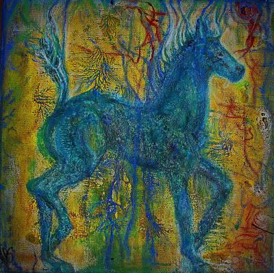 Encaustic Horse Painting - Blue Horse by Elizabeth Clausen
