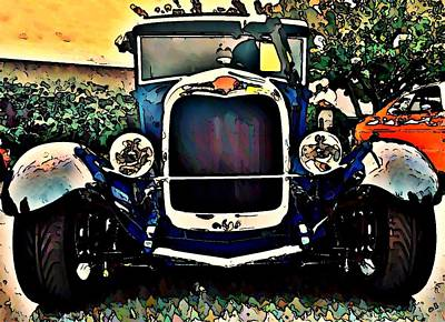 Car Hod Photograph - Blue Hot Rod by Stanley  Funk