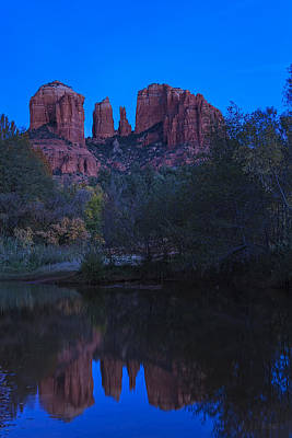 Blue Hour At Cathedral Rock Art Print by Medicine Tree Studios