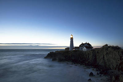 Blue Hour At Portland Head Art Print by Eric Gendron