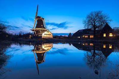 Blue Hour At Windmill Fram Art Print by Ron Buist