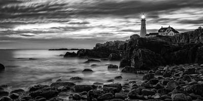 Blue Hour In Black And White Portland Head Light Print by Jeff Sinon