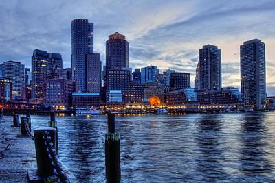 Boston Financial District Photograph - Blue Hour On Boston Harbor by Joann Vitali