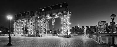 Nyc Photograph - Blue Hour On Midtown Nyc Skyline And Old Long Island Transfer Bridges - Bw by David Giral