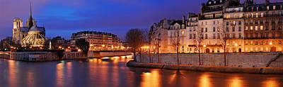 Ile St Louis Photograph - Blue Hour On Notre Dame And La Seine by David Giral