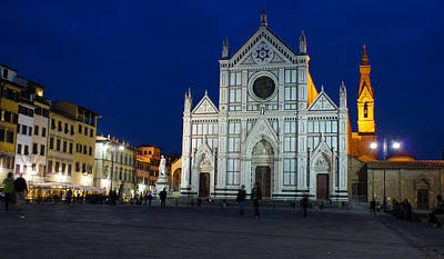 Photograph - Blue Hour - Santa Croce Church Florence Italy by Georgia Mizuleva