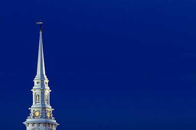 Weathervane Photograph - Blue Hour Steeple by Jeff Sinon