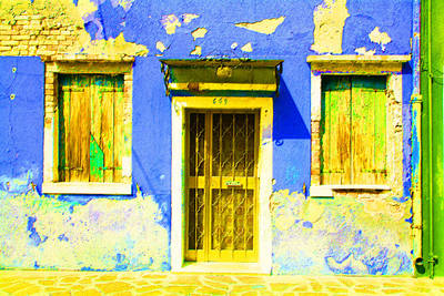 Digital Art - Blue House Decay by Donna Corless