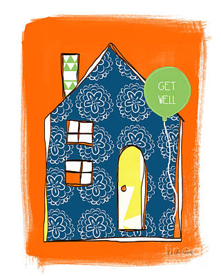 Chimney Mixed Media - Blue House Get Well Card by Linda Woods